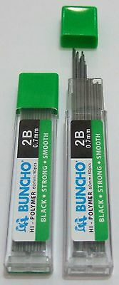 NEW 360x Buncho Mechanical Pencil Refills High Polymer Lead 0.7mm 2B (12 tubes)