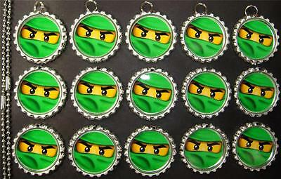 15 Special Assorted Ninjago Silver Flat Bottle Cap Necklaces Set 02