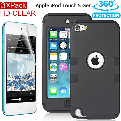 iPod Touch 5 itouch 5th Gen Shockproof Hybrid Impact Hard Back Case Cover+Film