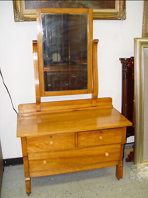 ANTIQUE OAK VANITY TABLE & MIRROR