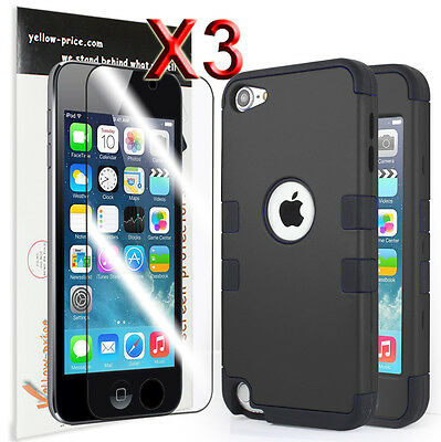 iPod Touch 6 itouch 5th Gen Shockproof Hybrid Impact Hard Back Case Cover+Film
