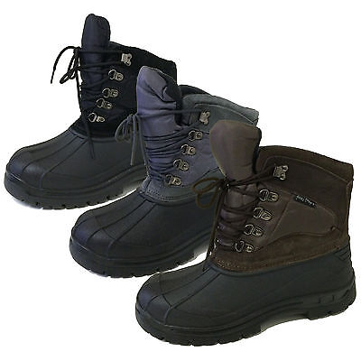 Men's Winter Boots Snow Leather & Nylon Waterproof Insulated Hiking Shoes, Sizes