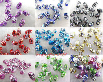 New 50/100Pcs Carved Aluminum Oval Loose Charm Spacer Beads For Jewelry 9x6mm