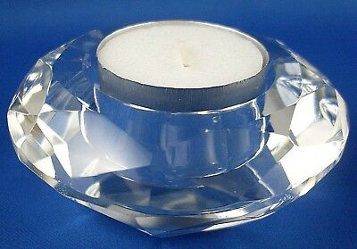 New (NU) Diamond Shaped HEAVY CRYSTAL TEALIGHT CANDLE HOLDER Pair - In Australia