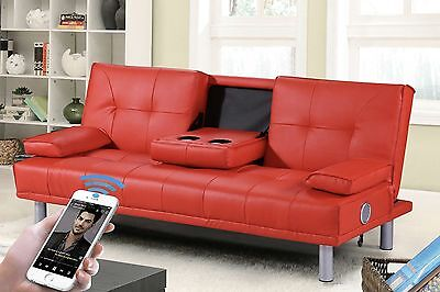 Modern Faux Leather 2 / 3 Seater Small Sofa Bed Bluetooth Music Speaker Option
