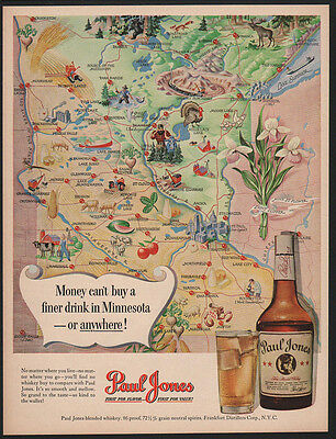 1950 Map Of MINNESOTA - PAUL BUNYON & BABE the Ox  PAUL JONES Whiskey VINTAGE AD