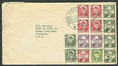 GREENLAND 1953, Commercial cover with contents tied Prins Christians Sun cancel