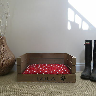Wooden Personalised Dog Cat Bed Apple Crate Handmade Shabby Chic Small Pet Bed