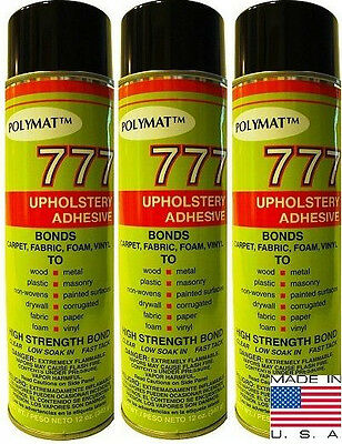 3 Polymat 777 Foam Fabric Speaker Box Carpet Upholstery Instant Tack Spray Glue