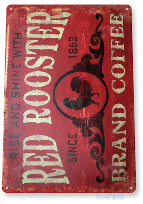 "TIN SIGN ""Coffee Red Rooster"" Metal Decor Art Kitchen Store Bar A296"