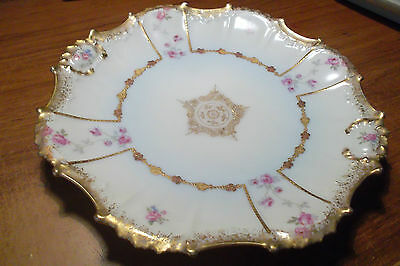 Rare Limoges c1890 Cream and Gold Cabinet Plate