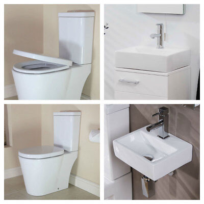Toilet Sink Cloakroom Bathroom Suite Square Ceramic Wall Mounted Basin