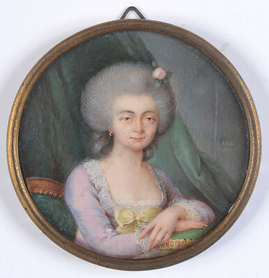 "de Carlé (fl. 1768/82 in Switzerland) ""Portrait of a lady"", rare miniature!1770s"