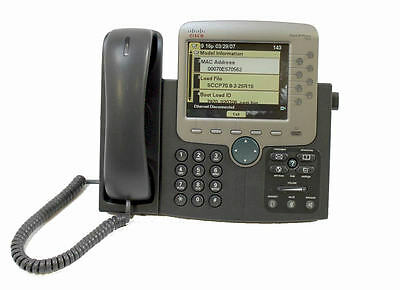 CISCO CP-7970G SCCP 8 BUTTON (LINE) VoIP COLOR LCD TOUCH SCREEN IP PHONE 7970G