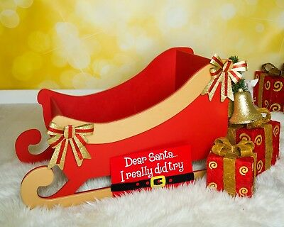 Santa's Sleigh wooden MDF Decoration Freestanding XMAS Christmas 620mm long