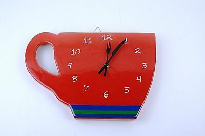 """PERK UP RETRO Diner COFFEE CUP Wall Clock RED Ceramic 12.5"""" W   W14"""