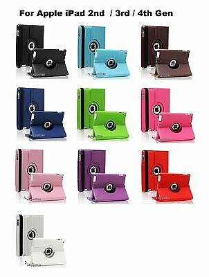"""Black 360 Degree PU Leather Cover Case 9.7 """"  Apple iPad 2 2nd Gen"""