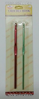 2 Crochet Hooks Needles Aluminum Size 5 mm and 3 mm In a Pack - NEW