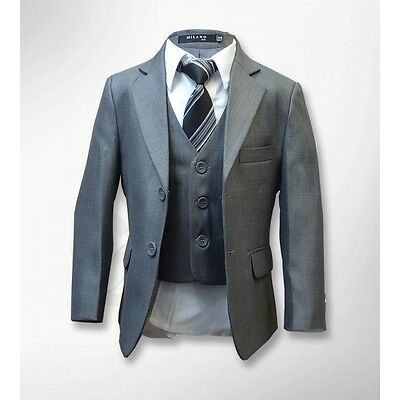Boys Formal Grey Suit Italian Design Pageboy Wedding 5 Piece Suits Age 1 to 15