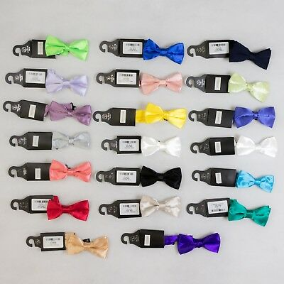 "New Varce Mens Coloured Deluxe Satin Thin Bow Tie - 2"" (21 Colours)"