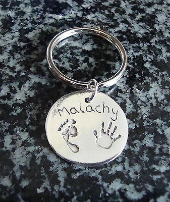 silver fingerprint jewellery keyring for fingerprints or hand and footprints