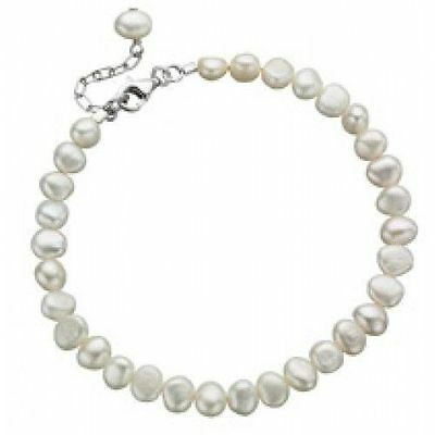 New Ladies Jewellery Freshwater Pearl & Sterling Silver Bracelet Gift Boxed