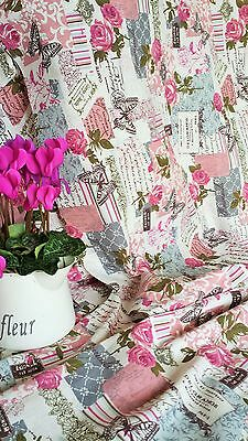 NEW Vintage Chic French Rose Butterfly Cotton Linen Fabric RETRO HALF metre