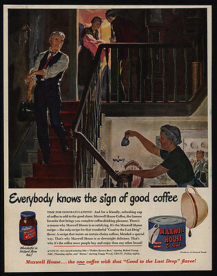 1950 MAXWELL HOUSE Coffee - Doctor Delivers Baby at Home - Art - VINTAGE AD