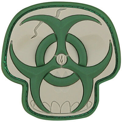 Maxpedition Biohazard Skull 3D Pvc Rubber Badge Airsoft Morale Patch Arid