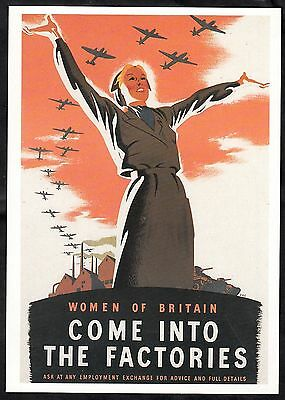 Postcard - C. 1980s reproduction WW2 poster - 'Come into the factories'