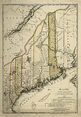 "1798 Map, MAINE, antique, United States America History, Canada, 20""x14"" Print"