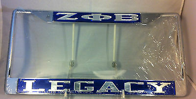 "Zeta Phi Beta Sorority ""Legacy"" Blue/Silver License Plate Frame- New!"