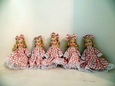 "3"" Thai Porcelain Dolls Ornaments Blonde Large Hair Bow Set of Five (New)"