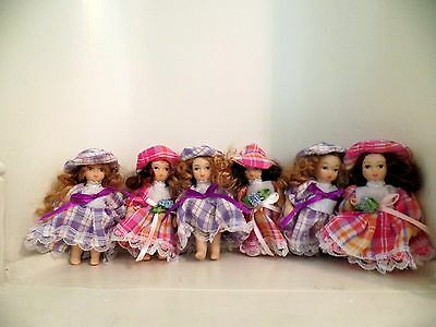 """3"""" Thai Porcelain Dolls for Display in Cabinets or on Shelves Set of Six (New)"""