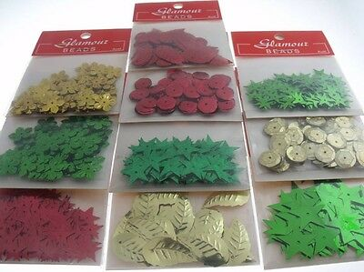 CHRISTMAS MIX Sequins Oranaments Reindeer Embroidery Seed Bead Applique Crafts