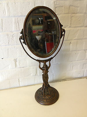 Antique Art Nouveau Copper or Spelter Dresser Mirror w/ Woman Dec. Nice Patina