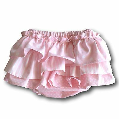 Pink/Small Polka Dots Fully Lined Hand Made Nappy/DiaperBloomers with Ruffles