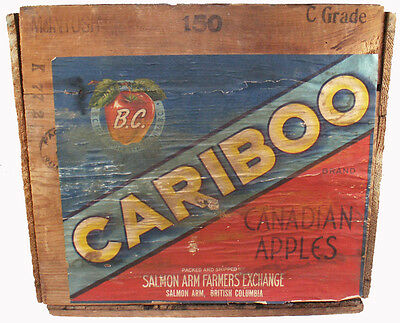 "1950's B.C. Tree Fruits Canada Cariboo Brand Canadian Apples 19.5""l Wooden Crate"