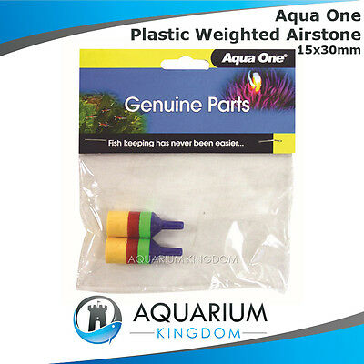 #10330 Aqua One Plastic Weighted Cylinder Air Stone 3cm - 2pk - Airstone Bubbles