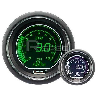 Prosport 52mm EVO Car Oil Pressure Gauge BAR Green and White LCD Digital Display