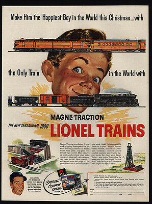 1950 LIONEL Trains - Magne Traction - Happiest Boy This Christmas - VINTAGE AD