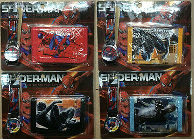New 16 Sets Spider-Man Watches and Wallets Sets Children Party Favors Gifts N64