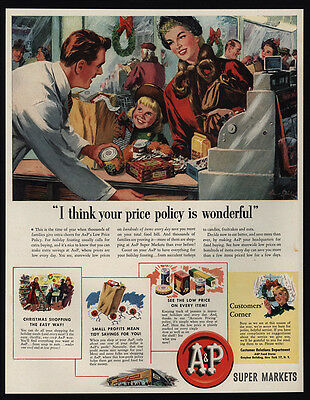 1950 A&P SUPER MARKET - Grocery Store - Mom & Daughter Buy Groceries VINTAGE AD