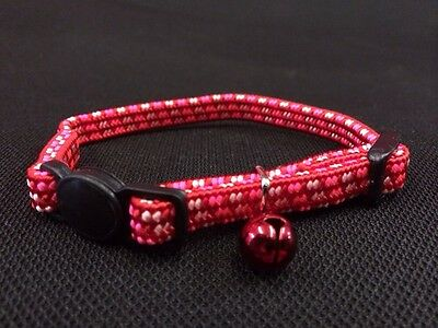 Kitten Collar Adjustable Red Pink White Quick Release Safety Buckle & Bell