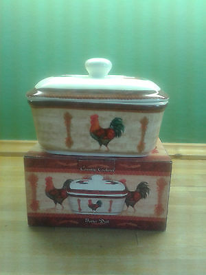 butter dish country cockerel
