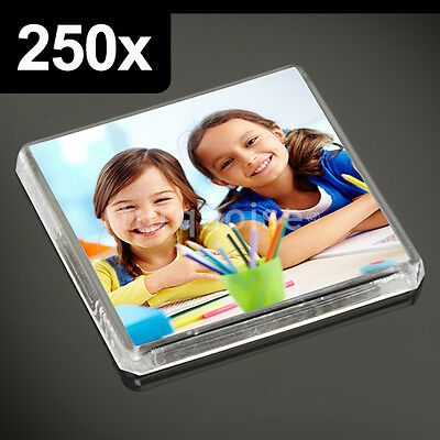 250x Clear Acrylic Blank Fridge Magnets 58 x 58 mm Square Size Photo
