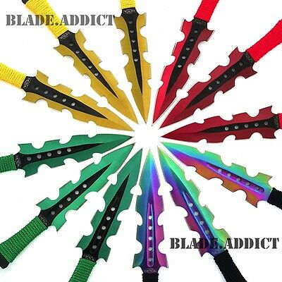 "12 PC 7.5"" Titanium Color Ninja Tactical Naruto Kunai Throwing Knife Set Hunting"