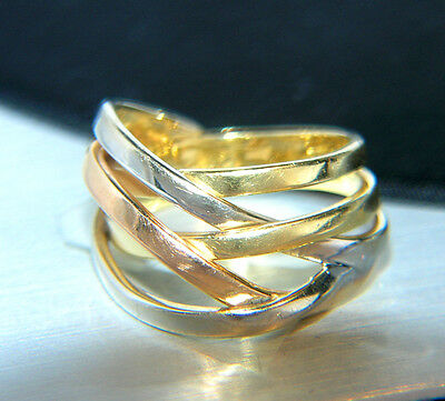 TRICOLOR / 750 GOLD 18 kt Goldring / RING ANILLO BAGUE Oro Or