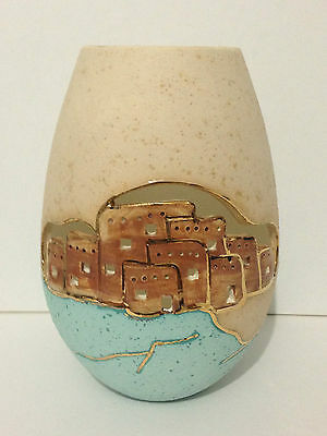 Handmade Ceramic Oval 22kt Gold Trimmed Pueblo Pottery Vase By Gina Arrighetti