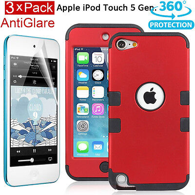 Heavy Duty Shock Proof Case Cover for Apple iPod Touch 6 5G 5th Generation (Red)
